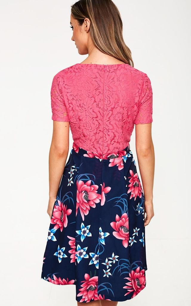 Floral Print Midi Dress in Pink by Marc Angelo