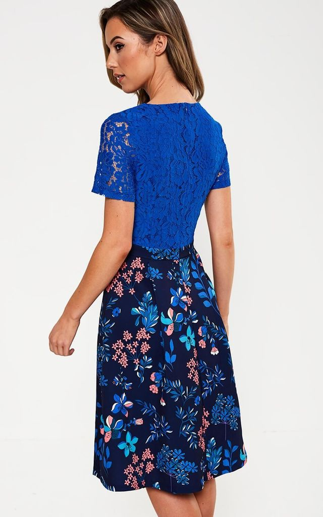 Floral Print Dress in Blue by Marc Angelo