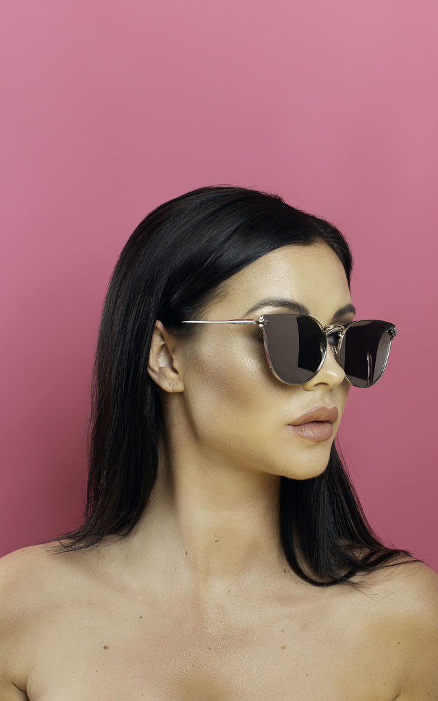 Too Hot To Handle Silver Winged Sunglasses by Shock X Shelby