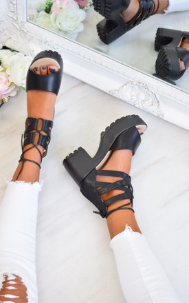 Lace Up Cleated Sole Block Heel Sandals - Black PU by AJ | VOYAGE