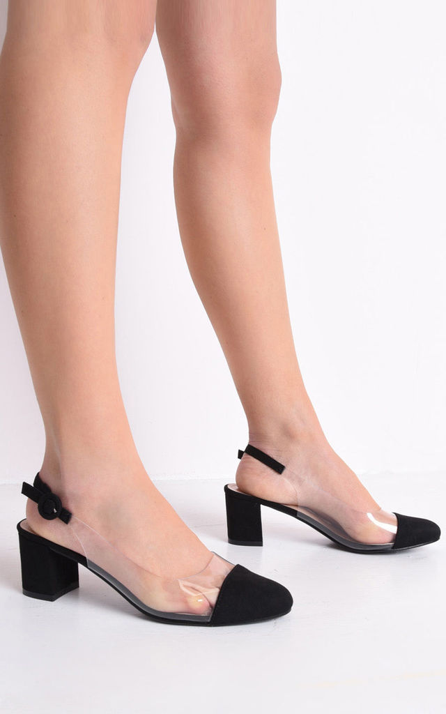 Slingback suede perspex court block heeled sandals black by LILY LULU FASHION
