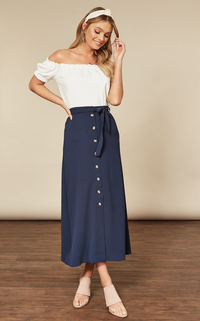 Midi Skirt with Button Front and Tie Waist in Navy by VM