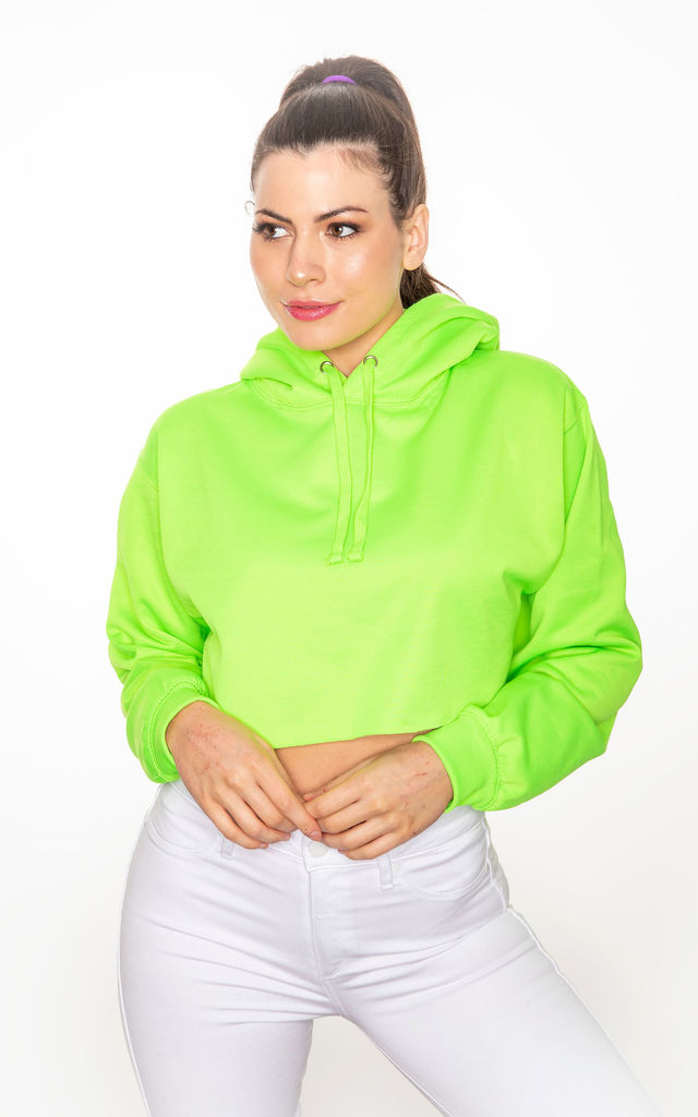 Neon green cropped hoodie by GET IT GRL