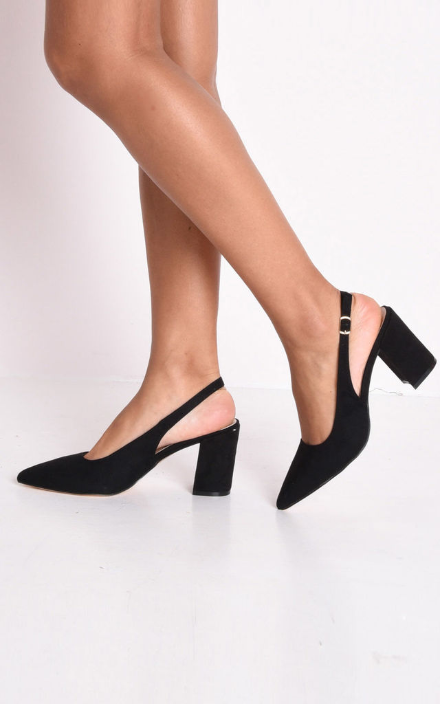 Slingback suede court block heeled sandals in black by LILY LULU FASHION