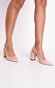 Slingback suede court block heeled sandals in pink by LILY LULU FASHION