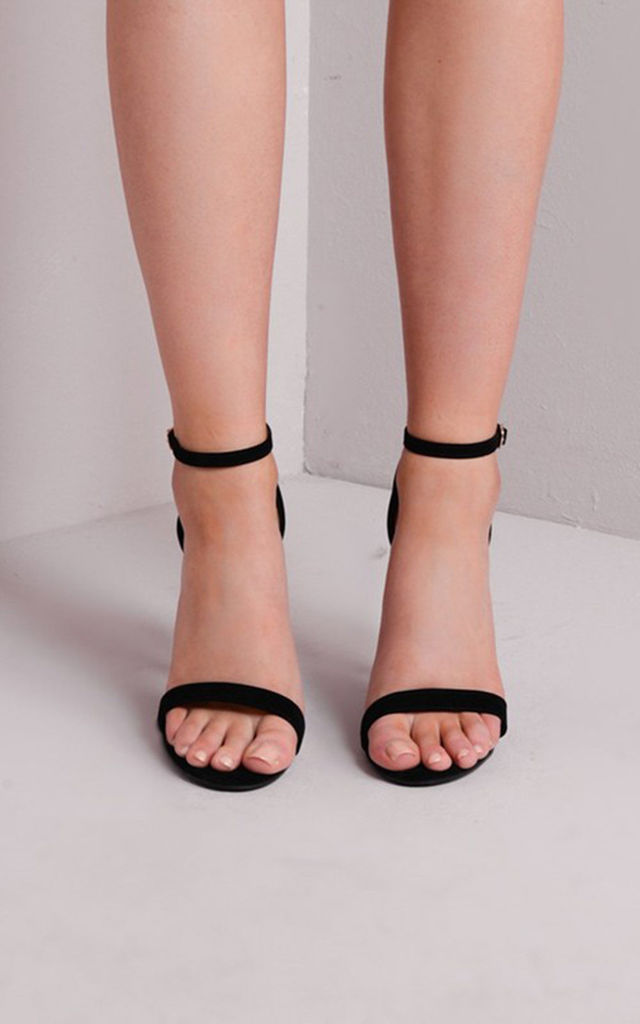 Strapped Suede Barely There Heeled Sandals Black by LILY LULU FASHION
