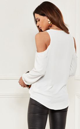 Cold Shoulder Wrap Top in white by Lilah Rose