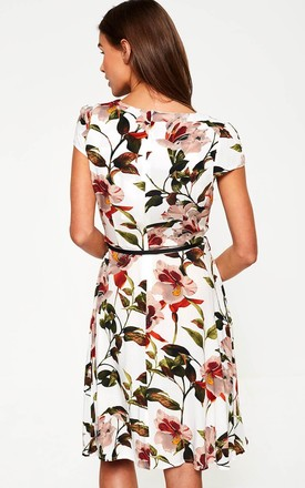 Floral Belted Dress in White by Marc Angelo