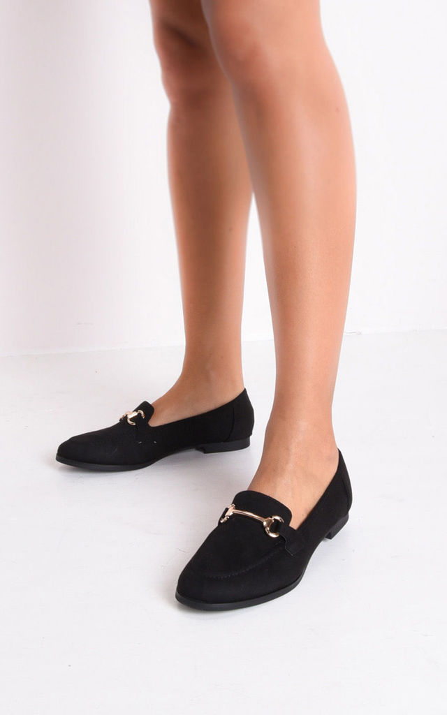 Faux suede snaffle detail loafer flat shoes black by LILY LULU FASHION