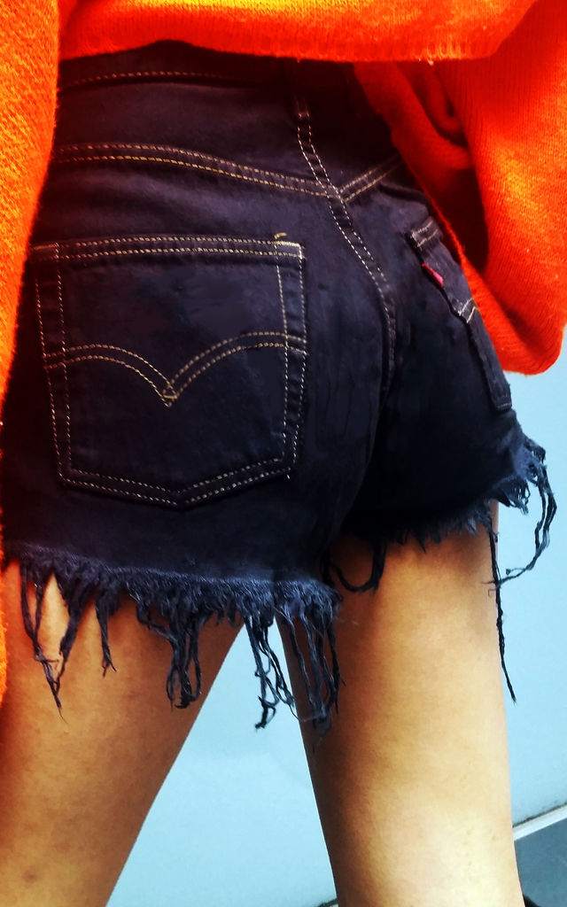 High Waisted Black Vintage Denim Levis Shorts by Top Threads