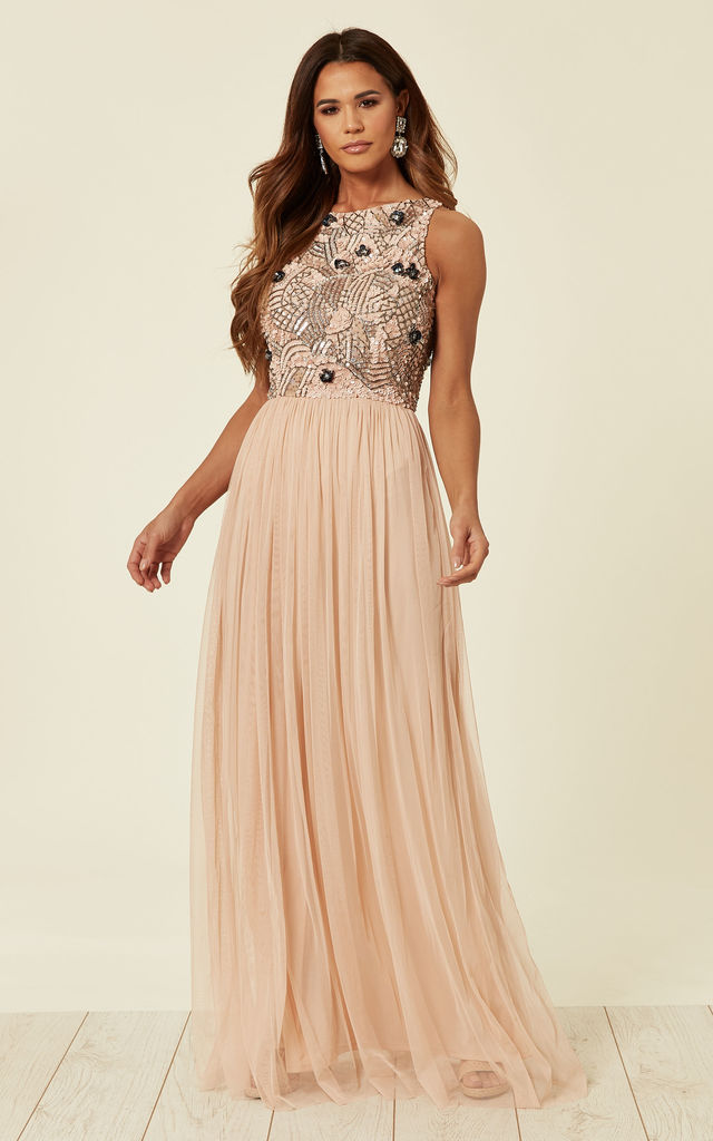 Light Pink Embellished Sequin Sleeveless Maxi Dress by ANGELEYE