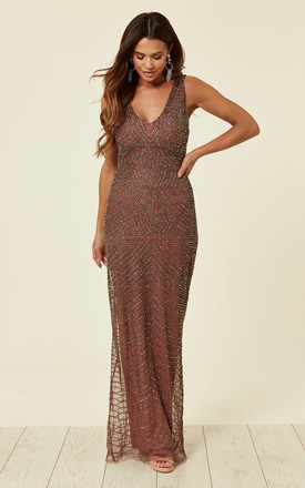 Brown Beaded Open Back Maxi Dress by ANGELEYE