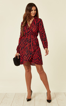 Exclusive Red Zebra Animal Print Wrap Mini Dress by ANGELEYE Product photo