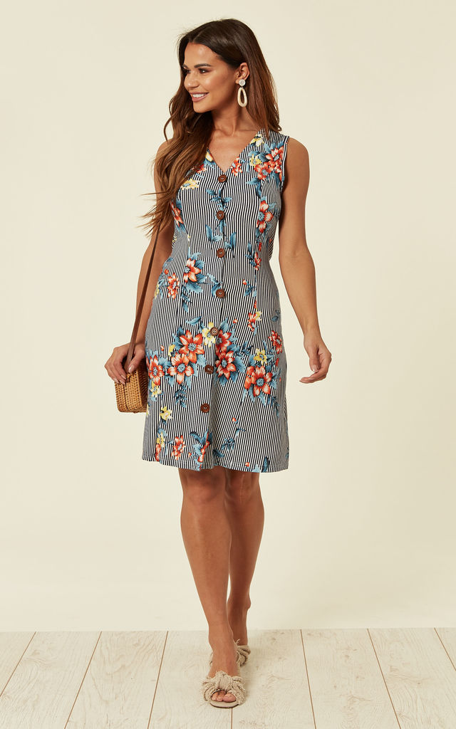 V-Neck Shift Dress with Front Buttons in Blue Stripe and Floral Print by TENKI LONDON
