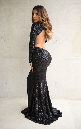 Aurora Sequin Occasion Evening Maxi Dress Gown In Black by Naked Dresses Product photo