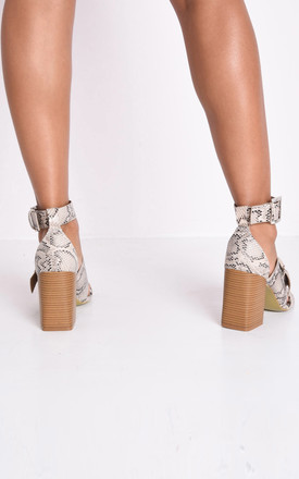 Faux snakeskin buckle block heeled sandals multi by LILY LULU FASHION