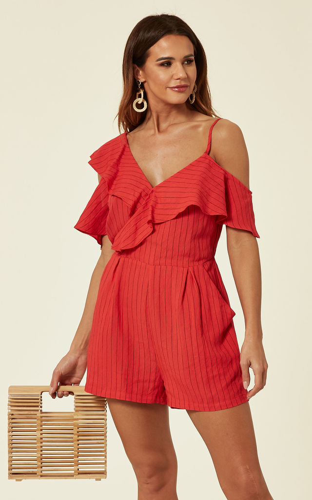 Red Striped Ruffled Playsuit by ANGELEYE