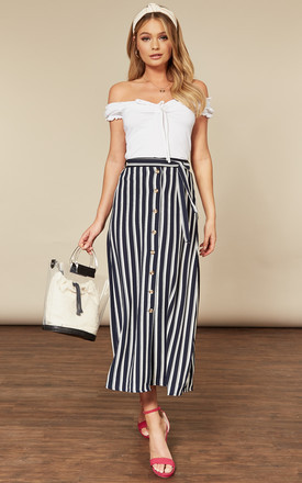 Midi Skirt With Button Front And Tie Waist In White Navy Stripe by VM Product photo