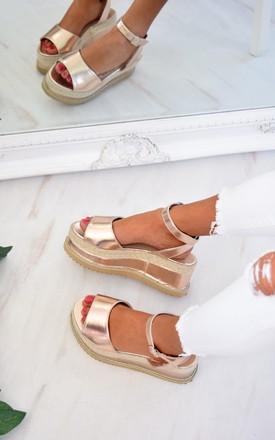 Braided Espadrille Wedge Sandals - Rose Gold Metallic by AJ | VOYAGE