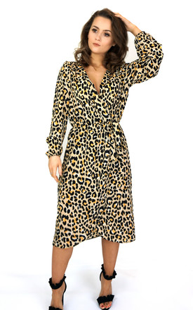 Long Sleeve Midi Wrap Dress In Leopard Print by Styled Clothing Product photo