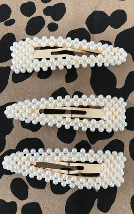 Large Oversized Faux Pearl & Gold Hair Clip Slide by Gold Lunar