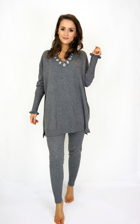 Lounge Suit Co Ord With Jewel Frill Neck In Grey by Styled Clothing Product photo