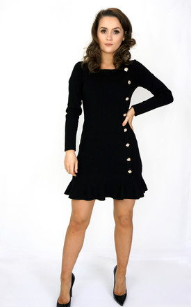 Long Sleeve Mini Dress With Buttons In Black by Styled Clothing Product photo