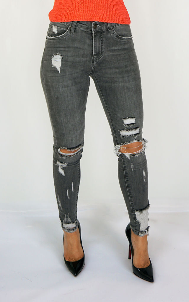Charcoal Ripped Ankle Grazer Jeans by Styled Clothing