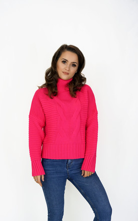 High Neck Jumper In Pink Neon by Styled Clothing Product photo