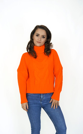 High Neck Jumper In Neon Orange by Styled Clothing Product photo