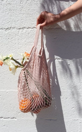PALE PINK NET SHOPPER BAG TOTE by Helix and Felix