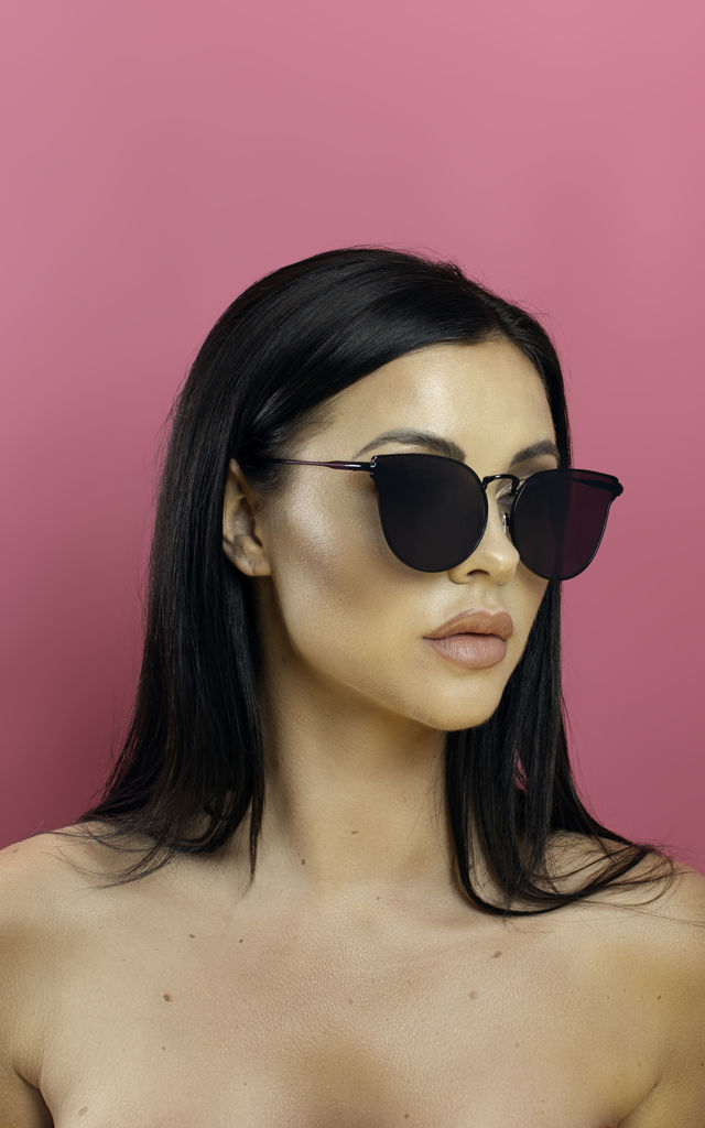 Too Hot To Handle Black Winged Sunglasses by Shock X Shelby
