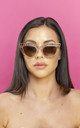 You Wish Gold Geometric Cat Eye Sunglasses by Shock X Shelby