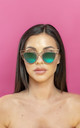 You Wish Geometric Cat Eye Sunglasses two tone petrol Lens by Shock X Shelby