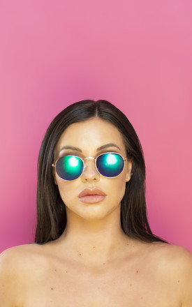 Drunk In Love Round Mirrored Petrol Lens Sunglasses by Shock X Shelby