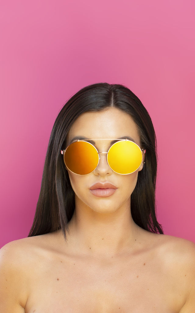 Just Sayin' Oversized Metallic Sunglasses Gold Lens by Shock X Shelby