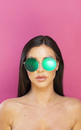 Just Sayin' Oversized Metallic Sunglasses Petrol Lens by Shock X Shelby