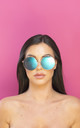 Just Sayin' Oversized Metallic Sunglasses Metallic Blue Lens by Shock X Shelby