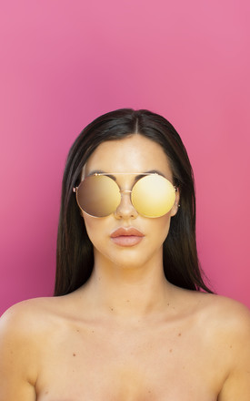 Just Sayin' Oversized Metallic Sunglasses Rose Gold Lens by Shock X Shelby