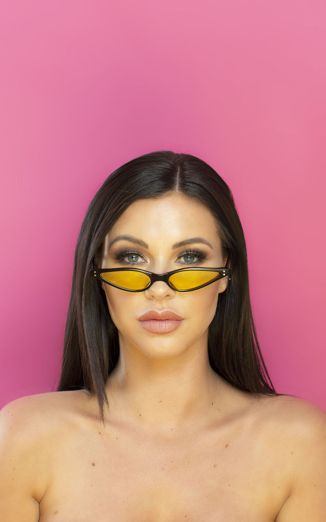 Slide in the DMs Small Cat eye Sunglasses Yellow Lens by Shock X Shelby