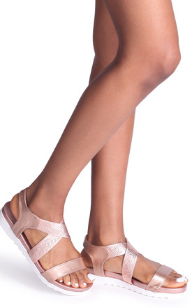 Binky Rose Gold Wedged Sandal With Elasticated Crossover Straps by Linzi