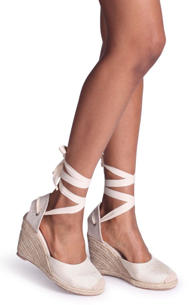 Meghan Beige Canvas Closed Toe Espadrille Wedge With Tie Up Straps by Linzi