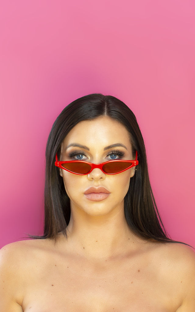 Slide in the DMs Cat Eye Sunglasses in Red by Shock X Shelby