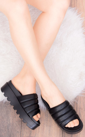 FRANCIUM Chunky Sliders in Black Faux Leather by SpyLoveBuy