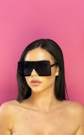 No Paps Please Oversized Sunglasses in Black by Shock X Shelby