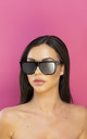 I Slay Straight Edge Sunglasses in Black by Shock X Shelby