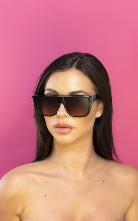 I Slay Straight Edge Sunglasses in Brown by Shock X Shelby