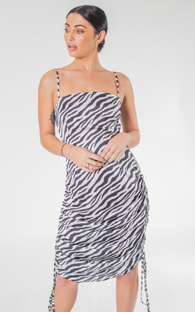 White Zebra Print Adjustable Length  Maxi and Mini Dress by Saint Genies
