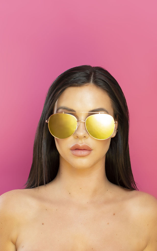 Oh Shock! Oversized reflective Aviator Sunglasses Gold Mirror Lens by Shock X Shelby