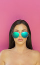 Oh Shock! Oversized reflective Aviator Sunglasses Petrol Lens by Shock X Shelby